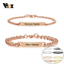 Vnox mężczyźni i kobiety z niestandardowym grawerowaniem nazwa miłość data Info ID bransoletki ze stali nierdzewnej personalizowane prezenty dla pary pulseira