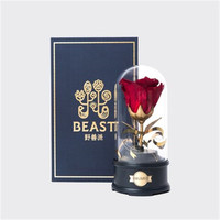 Red Rose Glass cover music crystal ball Home Decor Dried flowers birthday wedding gift Action Figure Collectible Model Toy