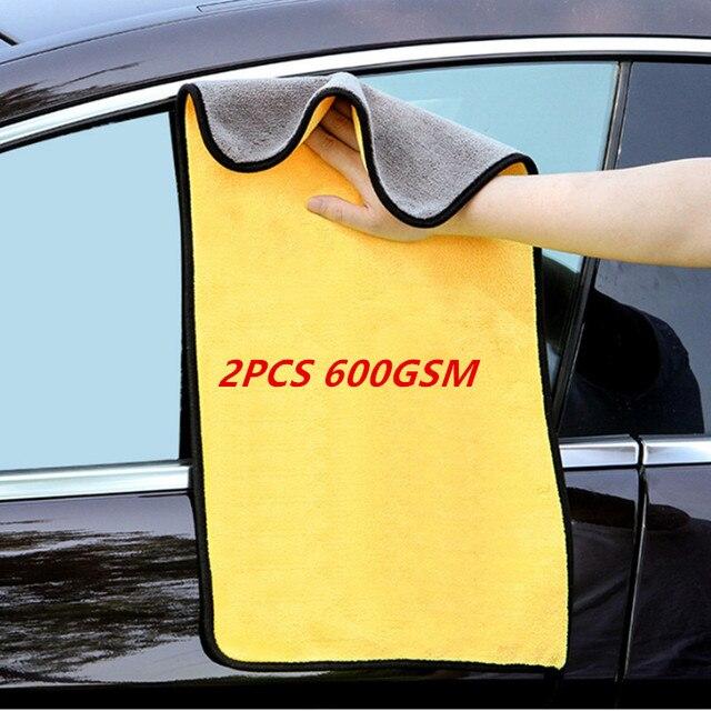 2個600GSM洗車マイクロファイバータオルのクリーニングタオル自動洗濯布カーペイントケア布ディテール車のアクセサリー