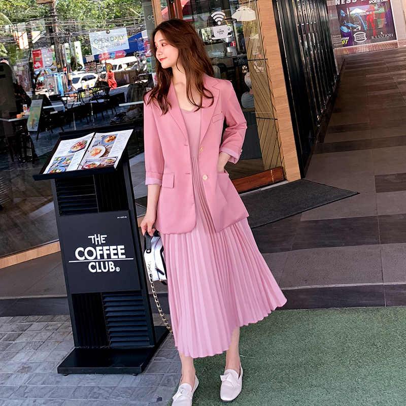 Mulheres elegantes trajes de Duas Peças define Jaqueta Blazer Vestido Terno Vestido de Chiffon Plissado 2019 das Mulheres Da Moda Terno Feminino OLOffice