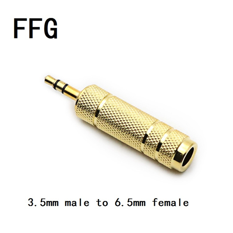 Golden Color 6.35 Male To 3.5 Female Stereo Adapter Plug Headphone Adapter Plug Terminals Audio Plug