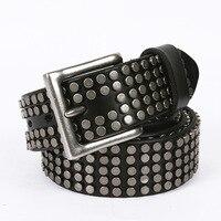Unisex Genuine Leather Metal Plate Rivet Punk Belt for Men Female Wide Cowhide Hip Hop Rock Rivet Strap for Women