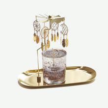 Small Luxury Candle Holders Gold Wedding Candle Holders Rotary Metal Carousel Bougeoire Decoration Table Centerpiece AC50CH(China)