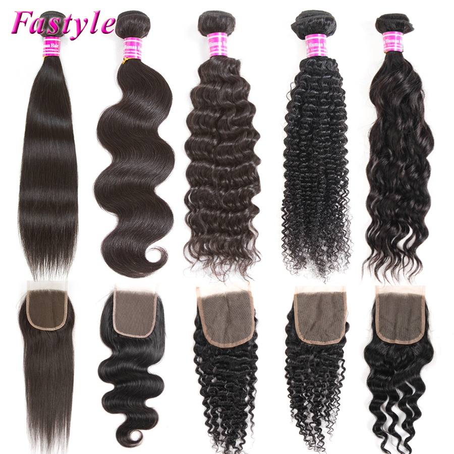 Human Hair Extension Weave Bundles Straight Body Natural Deep Water Wave Kinky Curly 3 4 Bundles Remy Hair With 4x4 Lace Closure