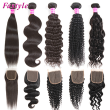 Human-Hair-Extension Weave-Bundles Remy-Hair Lace Closure Deep-Water-Wave Kinky Curly