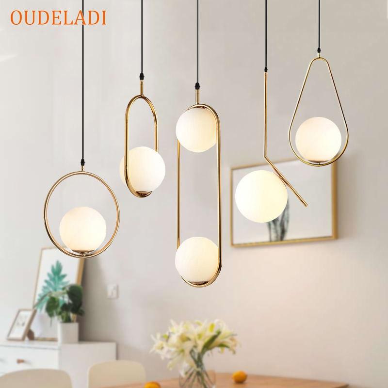 Nordic Glass Ball Pendant Lights Vintage Hoop Gold Modern LED Hanging Lamp for Living Room Home Loft Industrial Decor Luminaire 1