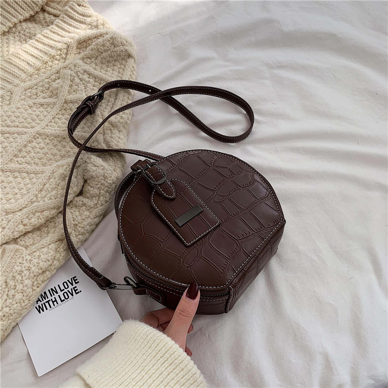 Fashion Small Round Bag 2019 Winter New Cross-body Bag Stone Pattern Small Handbag Shoulder Zipper Handbag Mobile Phone Bag