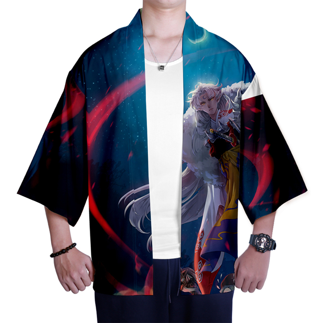 Japanese kimono Inuyasha Mens Womens Wear 3D Kimono Traditional Clothing Fashion Popular Family Casual Wear Comfort Tops