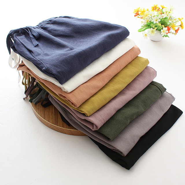Womens Spring Summer Pants Cotton Linen Solid Elastic waist Harem Trousers Soft thin Female ladys trousers S-XXL 2