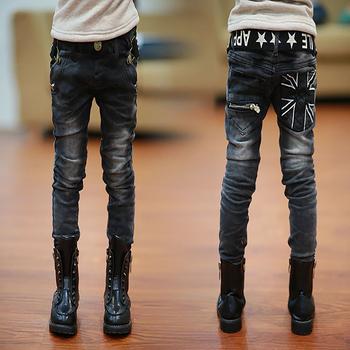 Chłopięce spodnie dziecięce wiosenne dżinsy bawełniane dziecięce długie spodnie chłopięce czarne dżinsy nastoletnie ciepłe spodnie jeansowe pełnej długości tanie i dobre opinie Float Abelia Na co dzień Pasuje prawda na wymiar weź swój normalny rozmiar 20-YV-1-23-773 Elastyczny pas Chłopcy GEOMETRIC