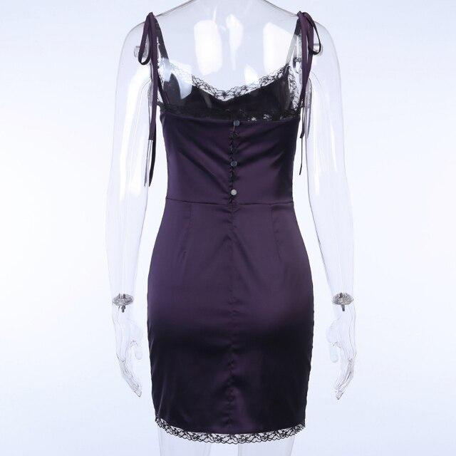 InsGoth Sexy Spaghetti Straps Bodycon Gothic Black Dress Women Streetwear Black Lace Up Mini Female Dress Casual Purple Dress 6