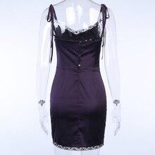 InsGoth Sexy Spaghetti Straps Bodycon Gothic Black Dress Women Streetwear Black Lace Up Mini Female Dress Casual Purple Dress