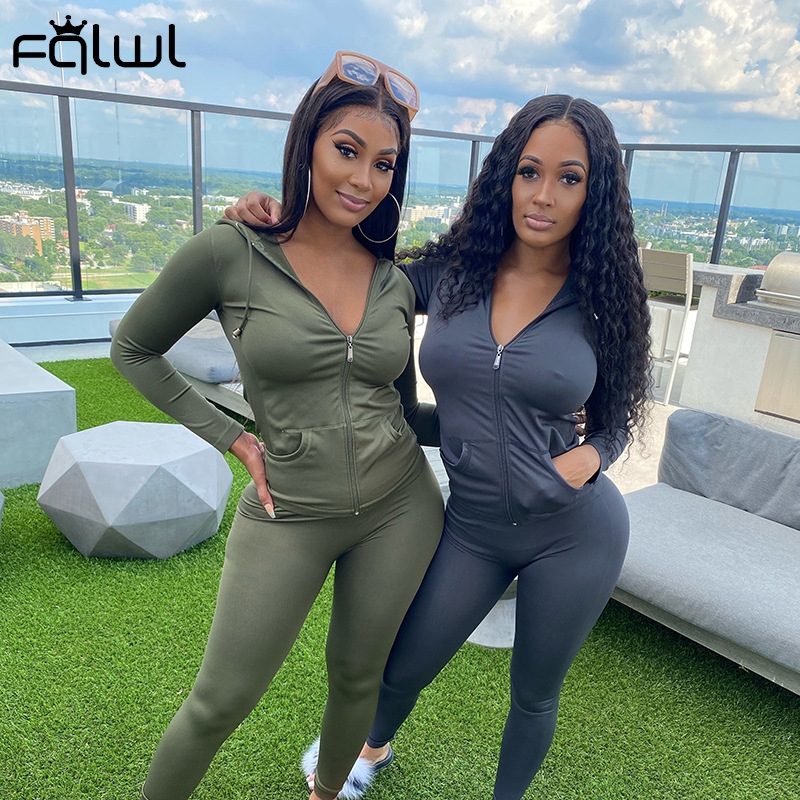 FQLWL Streetwear Fall 2020 Two 2 Piece Set Women Outfits Matching Sets Hoodies Leggings Women Sweatsuit Ladies Tracksuit Female