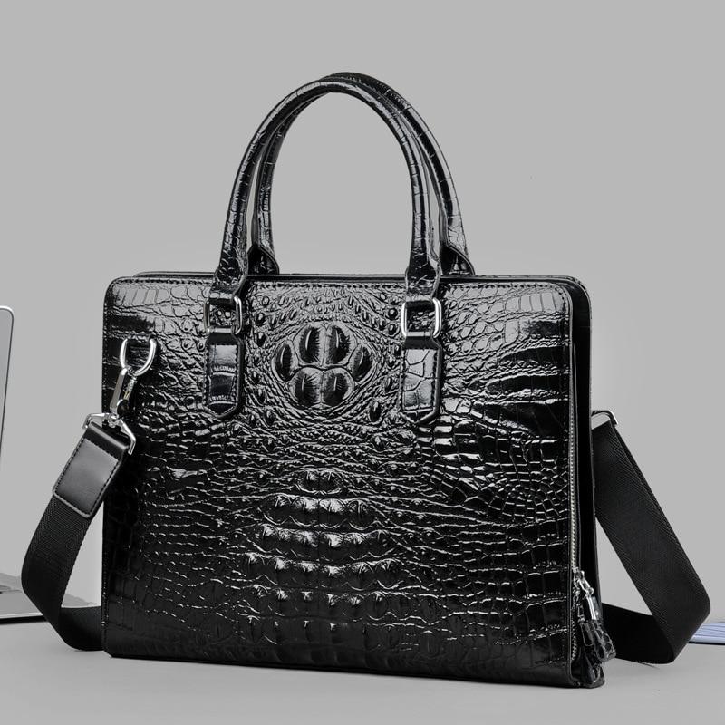 Crocodile Man Handbag Genuine Messenger Computer Bag Office For Men Leather Hand Male Package Business Affairs Single Shoulder