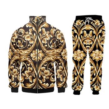 UJWI brand 3D Print Men two piece set Gold Flower Luxury Royal Baroque Tracksuit Jacket Sweatsuit Sweatshirt Hoodies sports 5XL 6