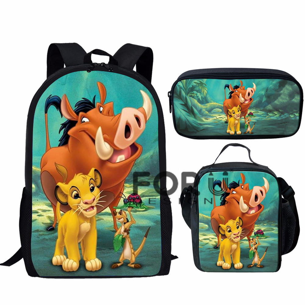 FORUDESIGNS Mochilas Children Backpack The Lion King Bag School Book Bags Simba Print Cartoon Backpack Kids Girls Boys Bag Pack