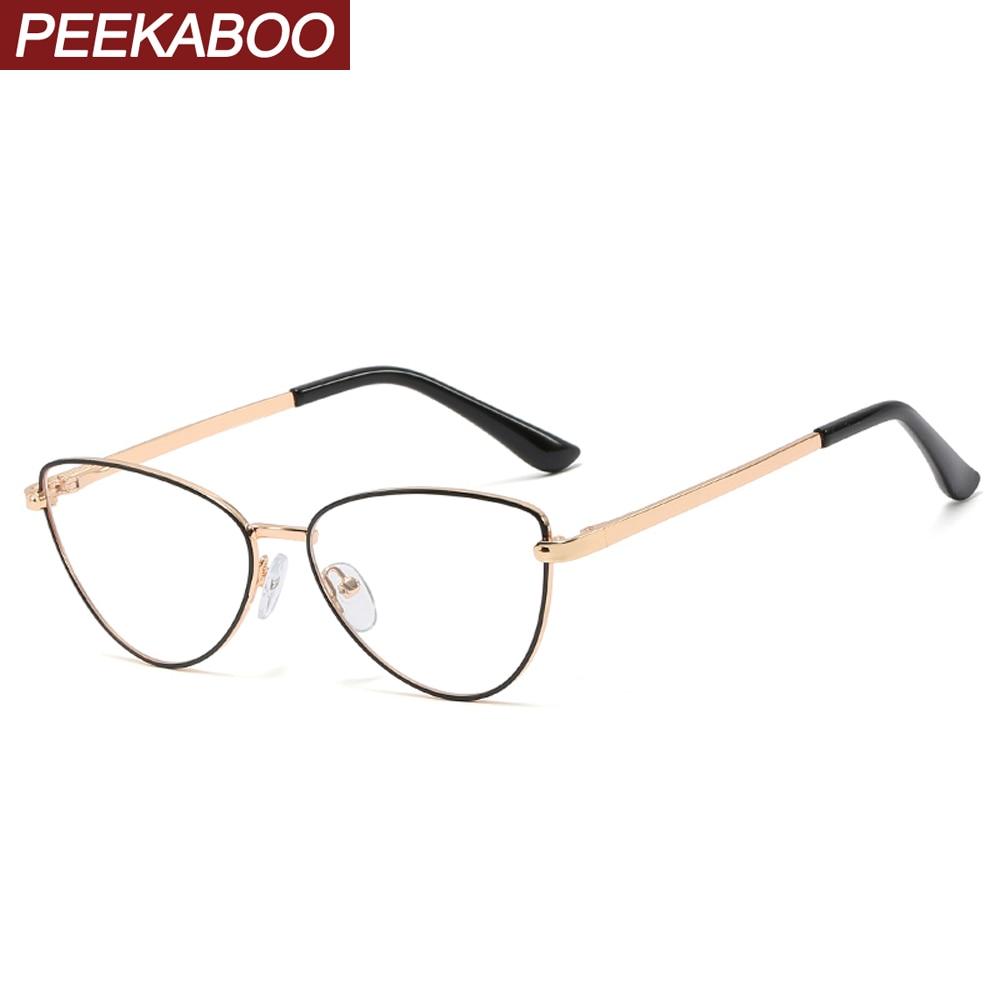 Peekaboo Retro Metal Glasses Frame Cat Eye Gold Silver Accessories Female Prescription Glasses For Women Optical Clear Lens