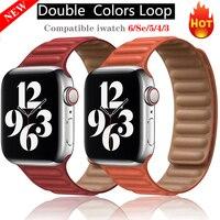 Correa de cuero para Apple Watch SE 6 5 4, banda de reloj transpirable para IWatch Series 6 5 4 3 40 44mm 38mm 40mm 40mm 42mm