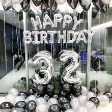 Silver Black Style Foil Letter Number Balloons Baby Shower Helium Ballon Happy Birthday Kids Adult Party Decoration Supplies