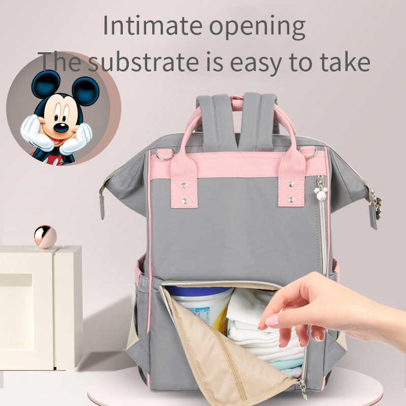 Disney Mickey Minnie Usb Pannolino Sacchetto Della Mummia Grande Capacità Maternità Sacchetto Del Pannolino Del Sacchetto Del Bambino Zaino da Viaggio per La Cura Del Bambino Del Progettista di Colore Rosa
