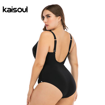 2020 New Solid Black Pleated Large Size 6XL One Piece Swimsuit Women Sexy Backless Plus Big XXL Swimwear Slim Beach Bathing Suit 2