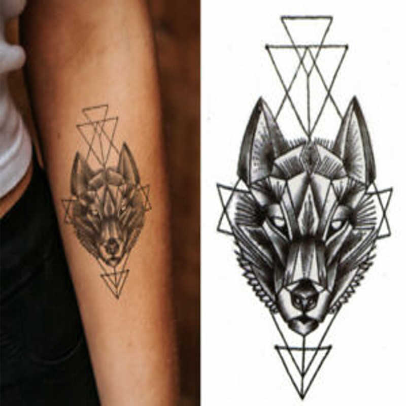 Disposable Tattoo Waterproof Geometric Cool Temporary Tattoo Sticker Double Rose Black Wolf Line Simple Body Art Sticker Aliexpress