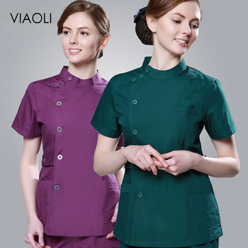 VIAOLI 2019 Summer New Fashion Women Hospital Medical Clothes Design Slim Workwear Solid Salon Uniform Nurse Scrubs(just A Top)