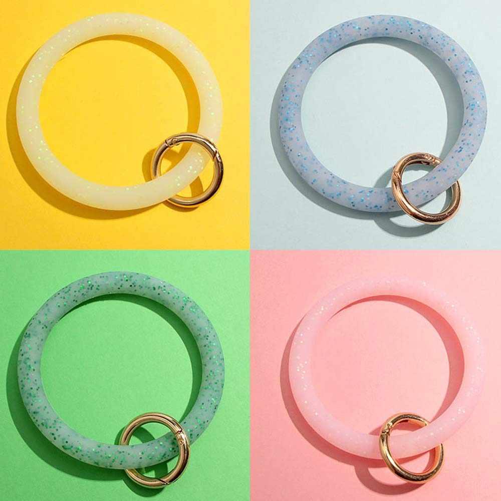 Mode brillant Sequin Silicone porte-clés pour les femmes cercle bracelet voiture porte-clés unisexe dragonne porte-clés accessoires
