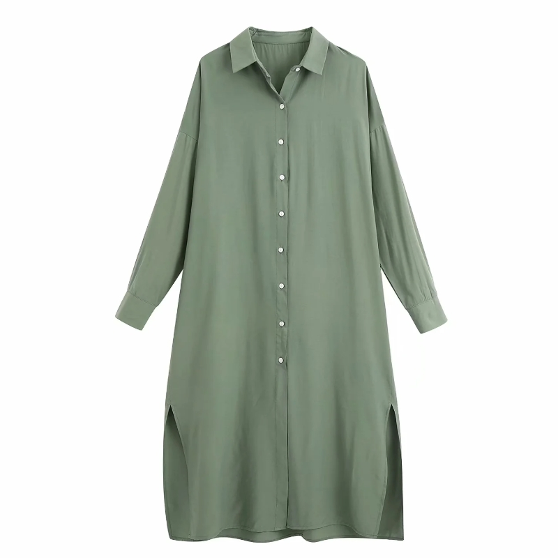 New 2020 Women Simply Solid Color Breasted Split Long Blouse Office Lady Long Sleeve Casual Loose Shirts Chic Blusas Tops LS6563