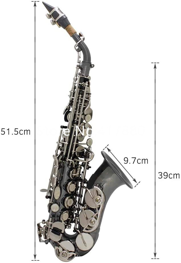 Custom logo Curved Soprano Saxophone B Flat Black Body Brass Woodwind instrument With Mouthpiece Case Free Shipping