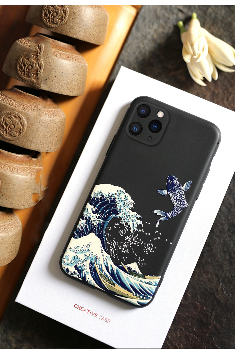 3D Art Relief Matte Soft Back Cover Case for iPhone 12 Pro Max