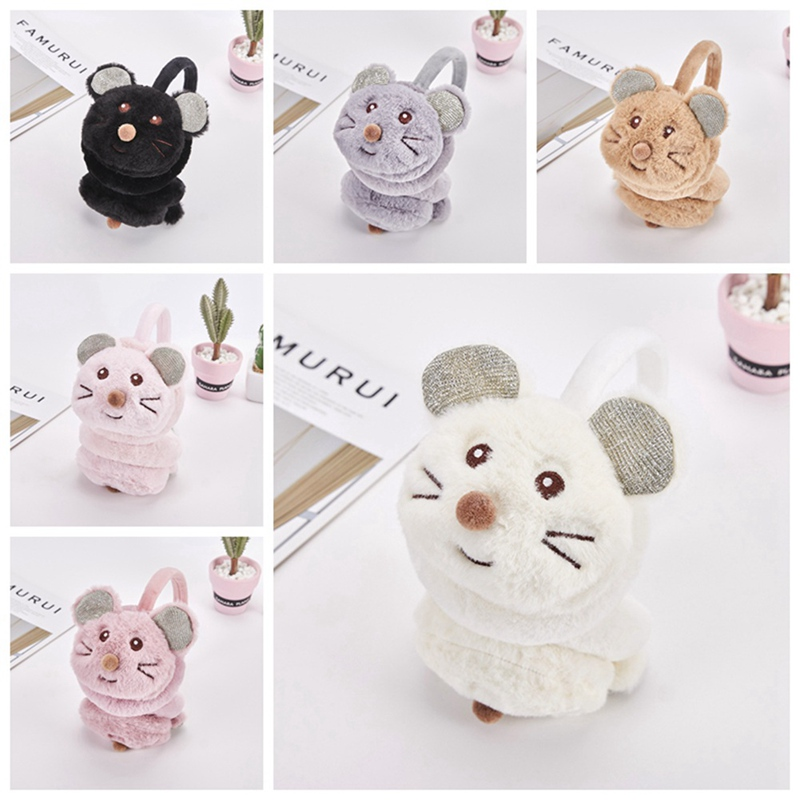 New 2019 Cartoon Mouse Warm Earmuffs Fashion Female Girl Fur Winter Earmuffs Earmuffs Earmuffs Sequins Headband Latest