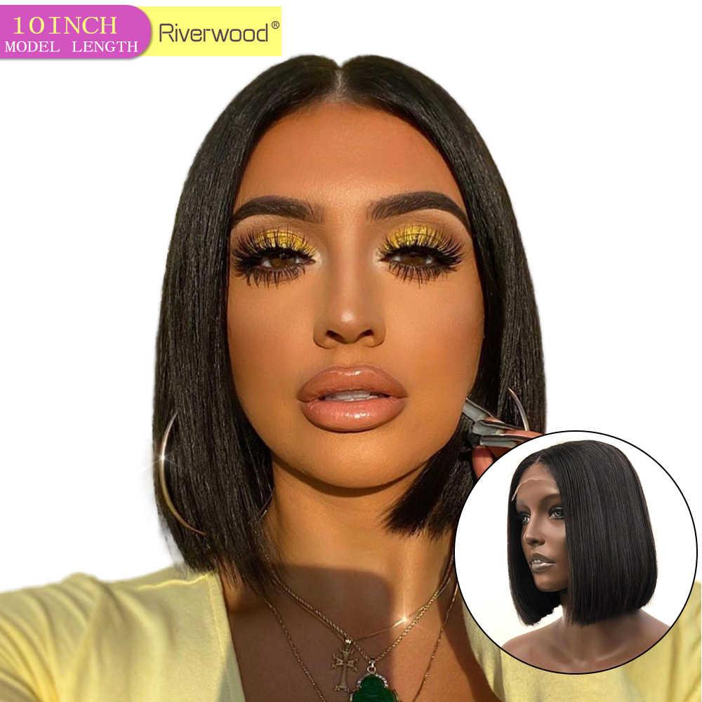 Bob peruka koronki przodu włosów ludzkich peruk brazylijski Remy krótki prosto wstępnie oskubane 150% gęstości 13*4 ludzki włos peruka dla czarnych kobiet