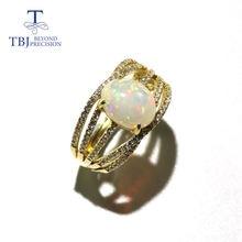 Кольцо с натуральным опалом овальное 8*10 мм драгоценный камень