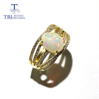 Natural Opal Ring oval 8*10mm real opal gemstone jewelry solid 925 sterling silver fine jewelry women gift new style 2019