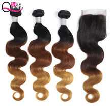 Brazilian Body Wave Ombre Bundles With Closure Pre-Colored Hair Weaves 3 Remy Human May Queen