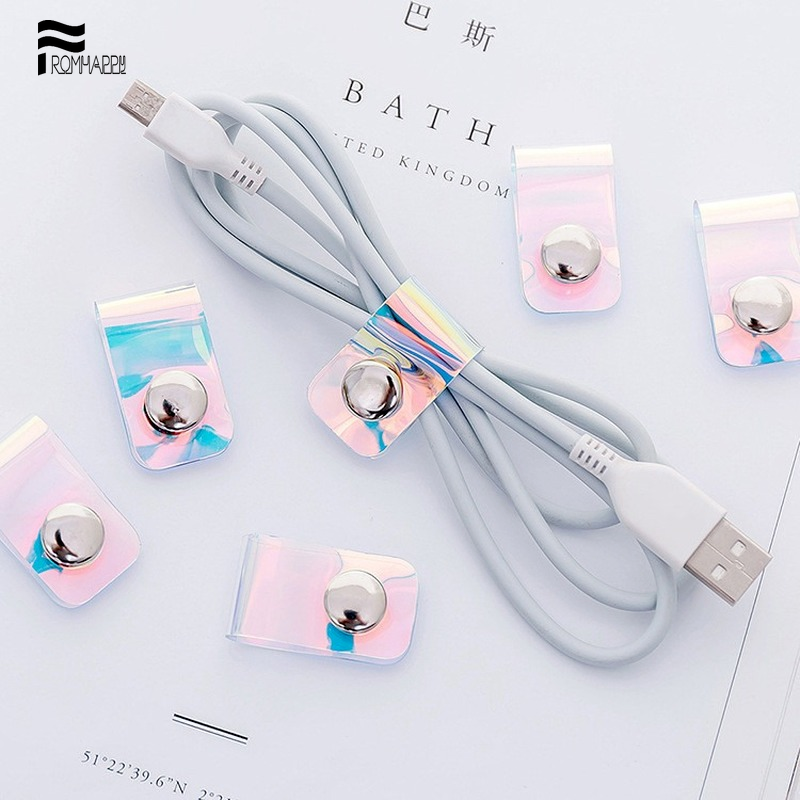 Cute Mini Cable Tie PVC Transparent Glitter Laser Cable Winder Data Earphone Clear Cable Organizer With Button Hub Metal Buckle