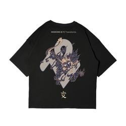 Wookong Merk Gedrukt Street wear Loose Fit Skateboard Tee Jongen Skate T-shirt 100% katoen Mannen Rock Hip hop Mode Tops