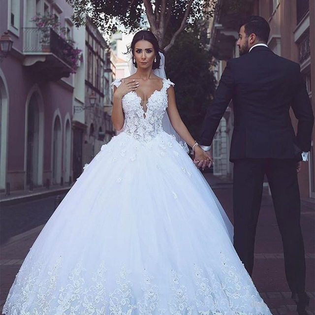 Lorie Princess Wedding Dress Ball Gowns Double Shoulder Appliqued