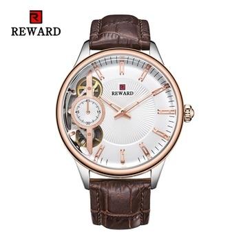цена REWARD Luxury Automatic Watch Men Waterproof Business Tourbillon Mechanical Watches Clock Leather Band Wrist watch Male relogio онлайн в 2017 году