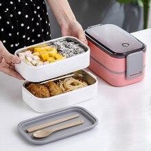 Японский Ланч-бокс из нержавеющей стали, двухслойный контейнер для еды, портативная посуда для детей, для пикника, школы, микроволновая печь, Bento box