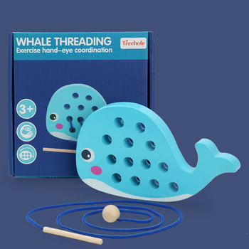 Kids Montessori Little Yellow Duck Whale Threading Game Baby Exercise Hands-on Early Childhood Teaching Aids Wooden Toys Gifts montessori early education to eat apple hands on teaching aids children s educational toys baby threading puzzle wooden toys