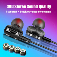 Headphones for smartphone phone bass quad core Double Dynamic earphones with micriphone headphone wired for xiaomi Samsung honor
