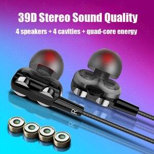Image 1 - 스마트 폰용 헤드폰 xiaomi samsung honor 용 micriphone 헤드폰이 장착 된 bass 쿼드 코어 이중 다이나믹 이어폰