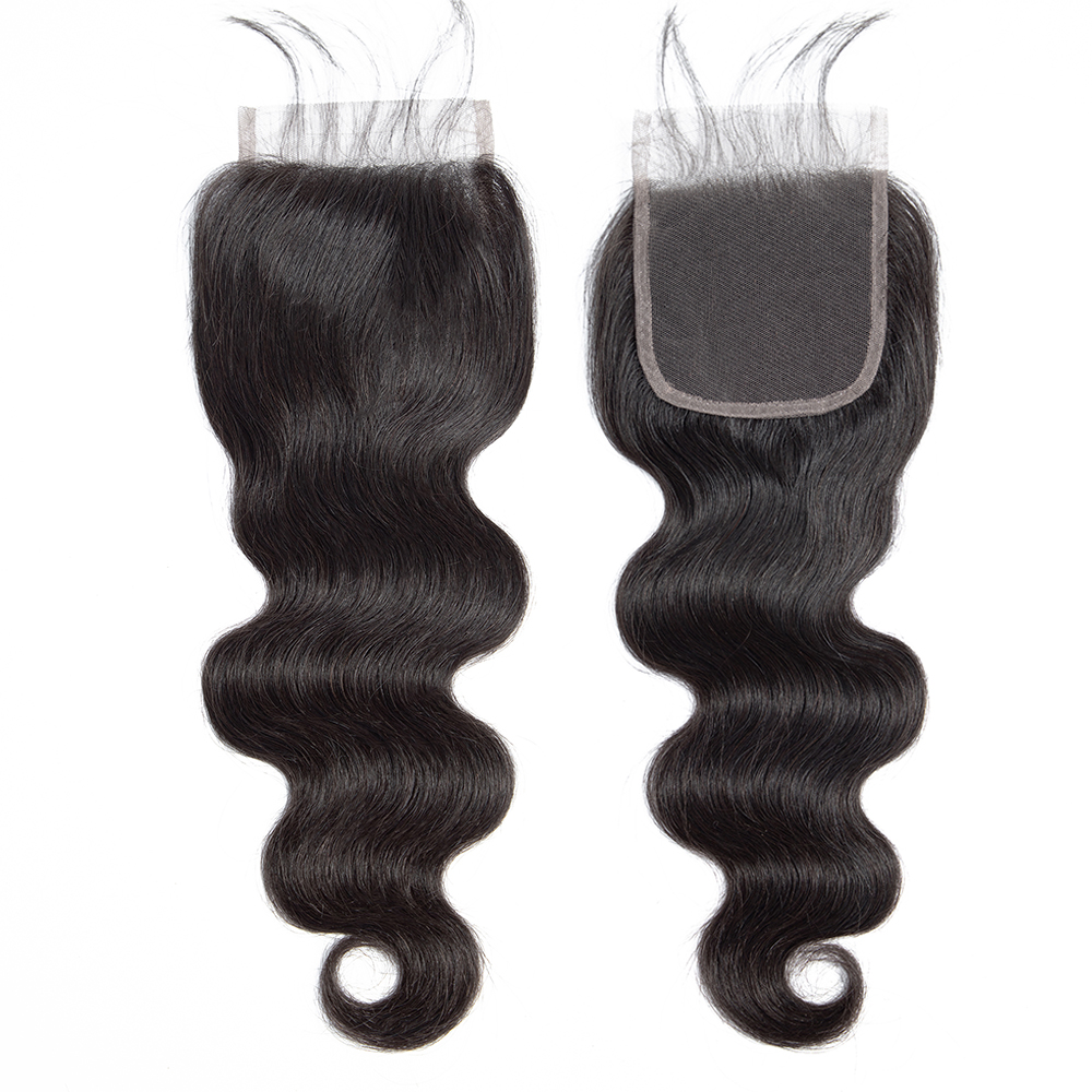 Brazilian Body Wave Closure 100% Human Hair 8-20 Inch 4*4 Lace Closure Free Part Natural Ombre Colored Remy Hair Weaving 1PC/Lot