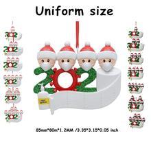 DIY spersonalizowana nazwa zestaw świątecznych ozdób 2020 rodzina dostosowane ozdoby świąteczne zestaw kreatywny prezent dla rodziny tanie tanio CN (pochodzenie) Doll pendant Gift Box Christmas Pendant flat black white about 85x80x1 2MM Christmas Decoration Festive Universal