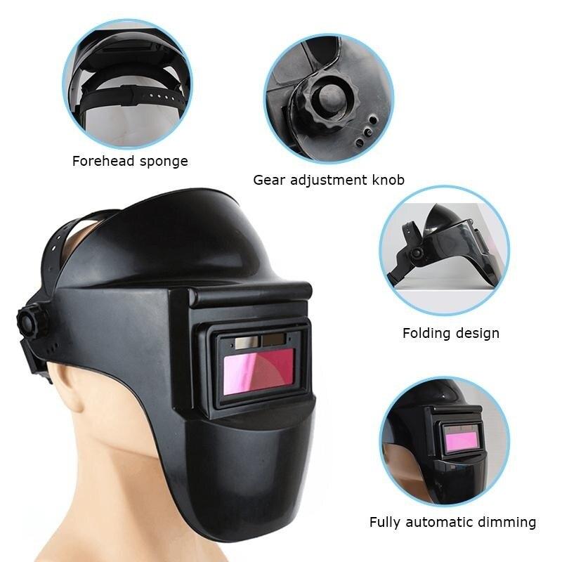 Сварочный шлем Солнечная Авто Затемняющая Сварочная маска дуговая Радиационная защитная маска Черная головная повязка на голову шлифовал...
