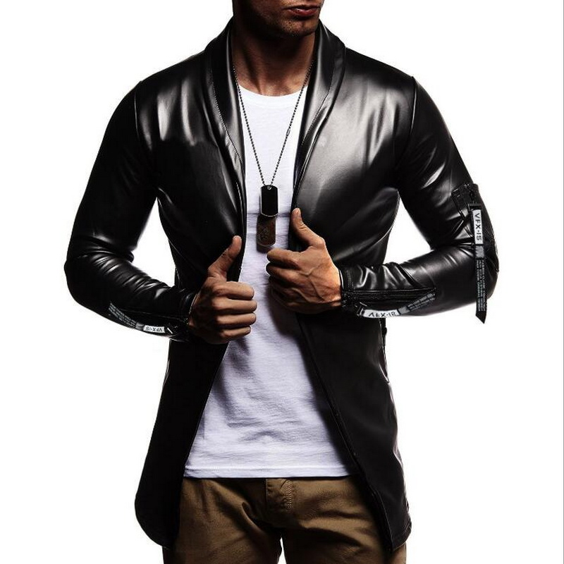 Image 5 - Night Club Leather Jacket Men New Fashion Slim Fit Motorcycle Leather Jacket Golden/Silver Blazer Jacket Male Leather Coat-in Faux Leather Coats from Men's Clothing