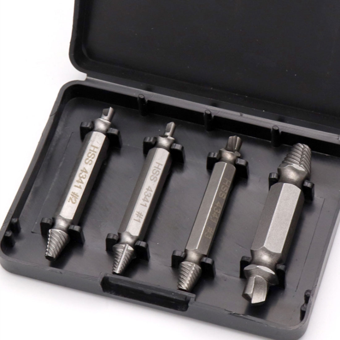 4pcs HSS Double Side Damaged Screw Extractor Drill Bits Set Tools Out Demolition Drill Bit Power Tools 1 #, 2 #, 3 #, 4 #