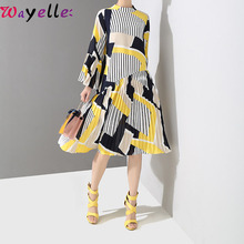 New Autumn Elegant Long Sleeve Women Dress Office Lady Flare Striped Printed Pleated Loose Vintage Party